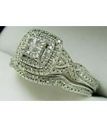 Sterling Silver 70 Diamond Quad Frame Sz 7 Engagement Ring Wedding Band ... - $179.99