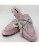 Victoria's Secret Bling Rhinestone Bow Mule Slip On Shoe Pink Velvet Siz... - $23.53