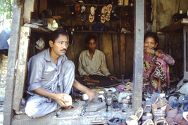 35mm Slide TUP Nepal Local Small Village Life People Shoe Maker(#75) - $4.75