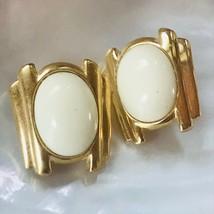 Vintage Trifari Signed Cream Plastic Oval Cab in Goldtone Frame Clip Earrings – - $12.19