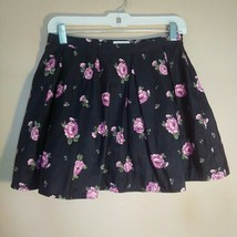 Forever 21 Womens Size 28 Black Pink Floral Poofy Mini Skirt - $31.27