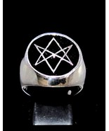 Sterling silver ring Unicursal Hexagram Aquarian Star with Black enamel ... - $115.00