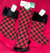 """Holiday Living 44"""" Tree Skirt Red / Black Check Faux Fur Trim Matching S... - $49.46"""