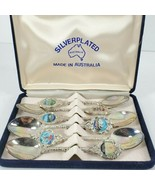 silverplated souvenir spoons made in Australia set of 6 W/ blue Case - $24.75