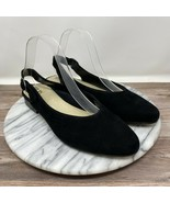 Earth Uptown Ursula Closed Toe Sling Back Suede Flat Black Women's Size 9M - $59.95