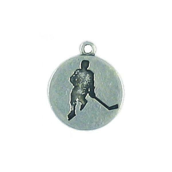 HOCKEY PLAYER DISC FINE PEWTER PENDANT CHARM - 14.5mm L x 17mm W x 1.5mm D