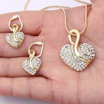 Women's Heartshaped Cut Crystal Gold Pendant Necklace Jewelry Set image 2