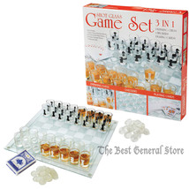 Shot Glass Game Board Chess Checkers Set Drinking Bar Game Poker Cards A... - $29.92