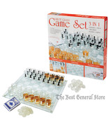 Shot Glass Game Board Chess Checkers Set Drinking Bar Game Poker Cards A... - $29.95