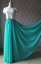 Blue Green Maxi Chiffon Skirt Silk Chiffon Maxi Skirt Wedding Chiffon Skirt image 1