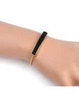 UNITED ELEGANCE Gold Tone Bolo Bar Bracelet With Black Swarovski Style C... - $22.99