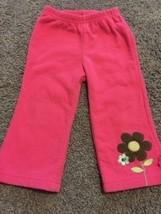 Child Of Mine Girls Pink Fleece Pants Blue Brown Flower On Leg 12 Months - $3.00