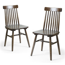 Adeco Elm Wood Vintage-Style Dining Chair with Vertical Slat Back, Dark ... - $249.99