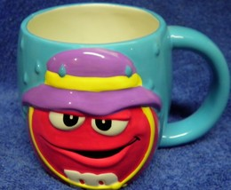 Blue With Red M & M Ceramic cup Mug - $13.10
