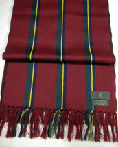 NEW Pre-1990 Club Room 100% Lambswool Burgundy Stripe Scarf West Germany - £26.36 GBP