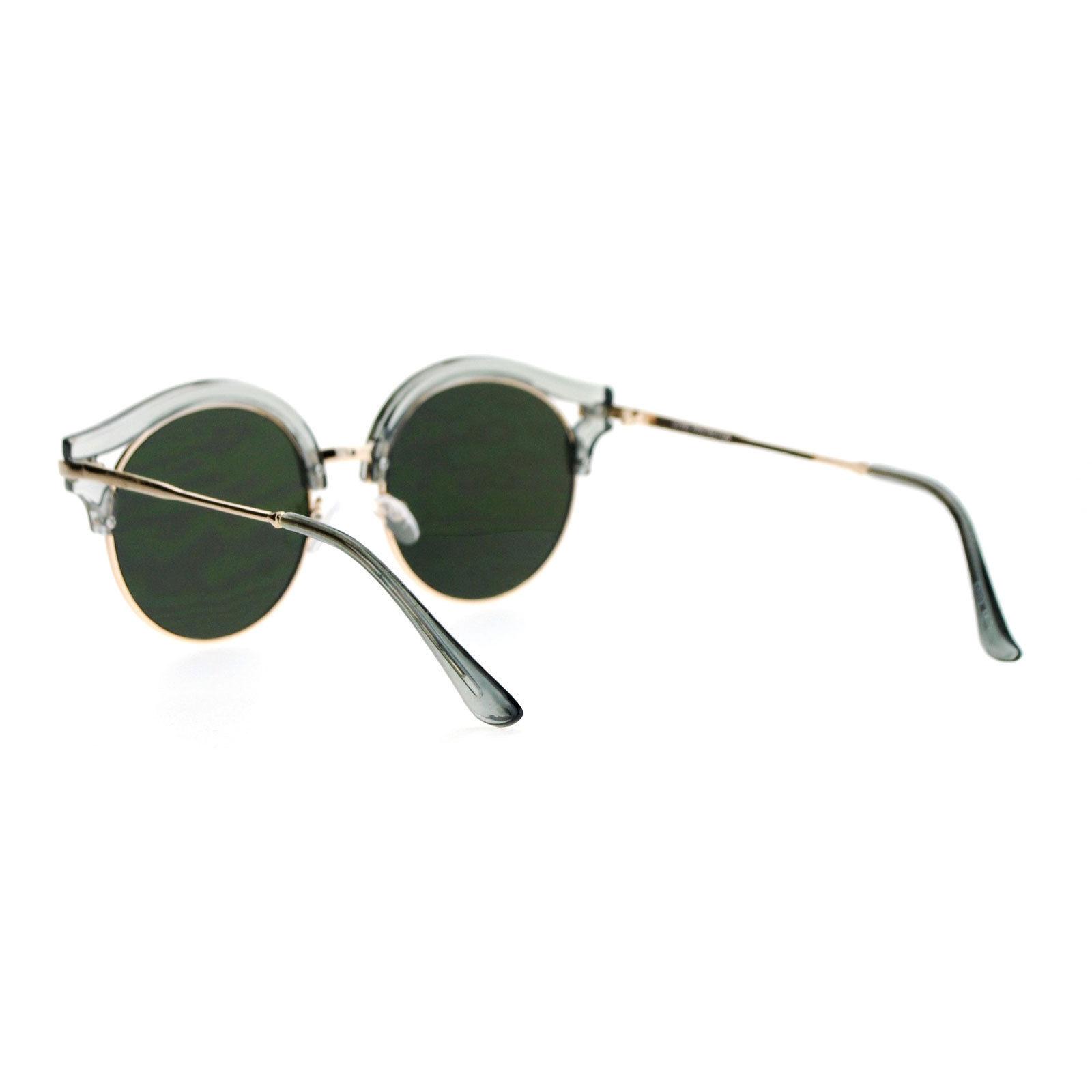 041d494f51c5e SA106 Retro Color Mirror Lens Round Circle Half Rim Womens Sunglasses