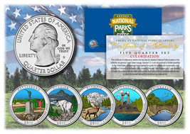2011 America The Beautiful COLORIZED Quarters U.S. Parks 5-Coin Set w/Ca... - $12.82