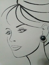 VINTAGE FASHION CLIP/POST EARRINGS HEMATITE BUTTONS W/ RHINESTONE FRAME - $20.00