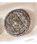 VINTAGE STERLING SILVER ART DECO C.1920's ROUND BROOCH PIN MARCASITE - $59.99