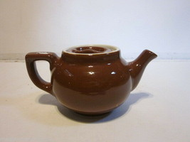 VINTAGE HALL POTTERY SMALL BROWN PERSONAL TEA POT - $9.99