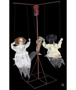 Halloween GHOSTLY GO ROUND - CREEPY DOLLS ANIMATED HALLOWEEN PROPS - 3 D... - $593.99