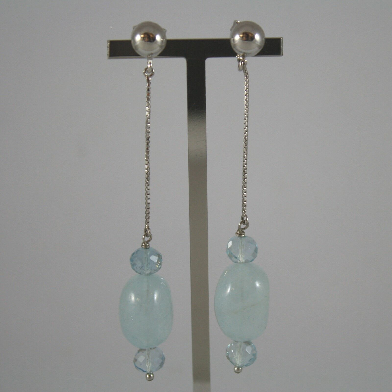 White Gold Earrings 750 18K, Hanging with Aquamarine, Long 7,5 CM