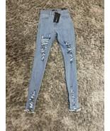 Fashion Nova Tell Your Boy Bye JEANS DENIM Blue WOMEN Sz 0  Ripped - $29.60
