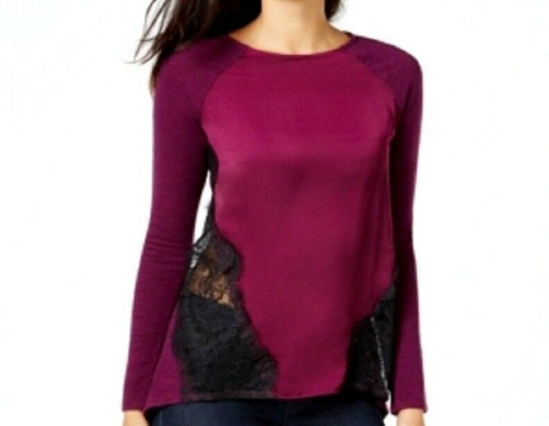 Primary image for Vince Camuto  Women's Mixed-Media Lace Top Purple Large