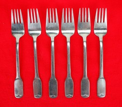 "6X Dinner Forks FB Rogers Stainless Flat Square End Flatware 7 1/4"" Fork - $47.52"