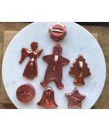 7 Aluminum/Copper Cookie Cutters Christmas Flower-Angel-Tree-Star-Bell-C... - $7.89