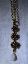 Antique Low Karat Rolled Rose Gold Pendant on Chain 3 Rhinestones Moonst... - $153.45
