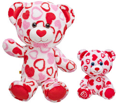 New Build a Bear White Red Pink Hearts Fur U Teddy Set Stuffed Plush Toy... - $89.95