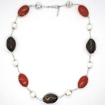 Necklace Silver 925, Jasper, Howlite, Quartz Smoke, Chain Oval image 2