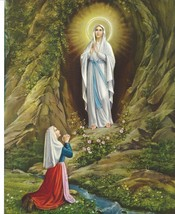 Catholic Print Picture Our Lady of Lourdes w/ St. Bernadette 8x10 ready ... - $14.01