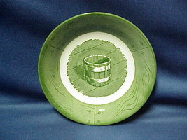"""Green Royal China Colonial Homestead Saucer Berry Bowl 6"""" Water Bucket - $5.64"""
