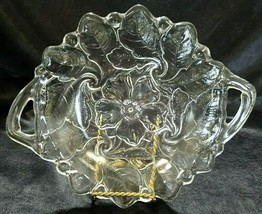 VINTAGE INDIANA GLASS CLEAR HANDLED CAKE PLATE IN WILD ROSE PATTERN - $12.60