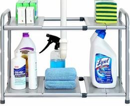 Under Sink Shelf Organizer Rack 2 Tier Expandable Adjustable Height Stee... - €38,14 EUR