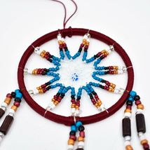"""Handcrafted Miniature 9"""" Maroon Red Dreamcatcher Plastic & Wood Beads Feathers  image 3"""