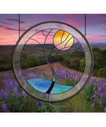 Stained Glass Window Panel • Crystal Tree Yellow Moon round glass panel ... - $97.00