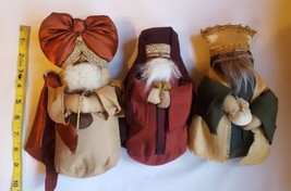 Three Fabric Wise Men Magi Nativity Scene Dolls Christmas table Decorati... - $37.04