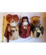 Three Fabric Wise Men Magi Nativity Scene Dolls Christmas table Decorati... - $37.04