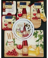 Kitchen Linen Placemats Stove Top Covers 'Wine' & Cheese Theme, Select: ... - $6.52+