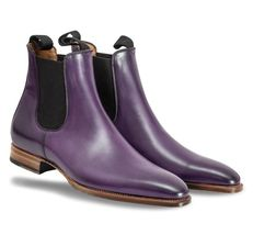 Handmade Men's Purple Leather High Ankle Chelsea Style Leather Boot image 3