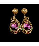 Vintage Edwardian earrings - Jeweled Snake drop - earrings screw back - ... - $75.00