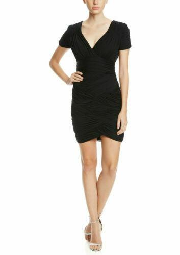 NWT WOMEN Halston Heritage  Ruched Short Sleeve Jersey Mini XS Dress $395