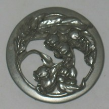 Vtg 1989 Seagull Pewter Round Floral Flower Design Brooch Pin Costume Jewelry - $28.71