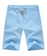 Our Precious Men's Linen and Cotton Casual Classic Fit Short Light Blue 2L - £15.89 GBP