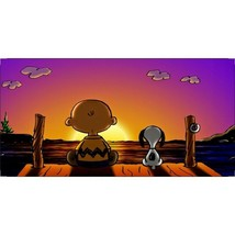 charlie brown and snoopy sunset peanuts license plate made in usa - $28.49