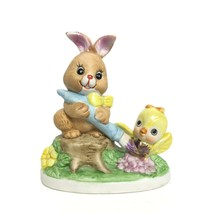 Vintage Russ Berrie Easter Bunny Poreclain Figurine Painting Baby Chick - $16.57