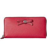 Coach Amaranth Pink Leather Bow Turnlock Tie Zip Around Wallet 53903 NWT  - $162.86